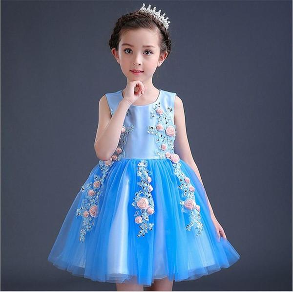 Blu Cute girl Princess Dress colletto tondo senza maniche Bambini Hua Xianzi 61 vestito abito 2017 Nuova moda kid276