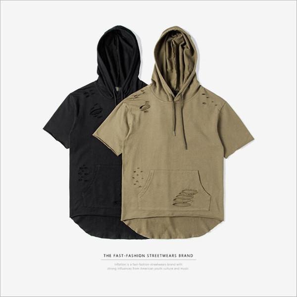 2017 Homens Rasgado Buraco Solto Casual Tops Moda Verão T-shirt Streetwear Com Capuz Tshirt kanye west roupas