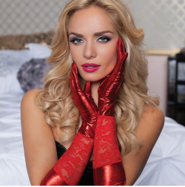 PVC look red lace elbow length latex look sexy gloves wet look mittens metallic gloves leather long gloves for women