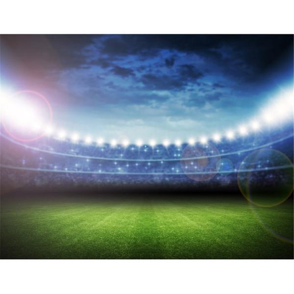 Cenários de fotografia de vinil estádio de futebol com luz Sports Match Céu azul verde gramado crianças crianças fundos para Photo Studio