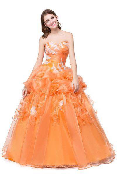 Organza chérie robes de bal pas cher robe de bal Ruffle fait main fleurs robe de bal orange Robe de bal orange longue dentelle Applique robe de soirée de bal