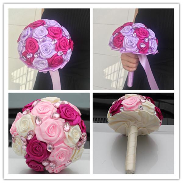 Bouquet Sposa Fucsia.Acquista Fuchsia Bouquet Da Sposa Rosa Nastro In Raso Sweet 15