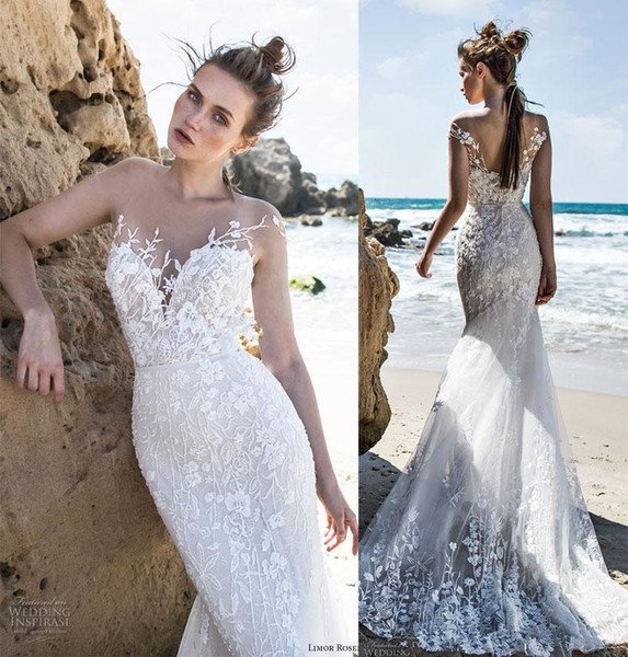 Elegant Romantic Fit and Flare Holiday Beach Mermaid Wedding Dresses 2018 Limor Rosen Sheer Neck Lace Floral Boho Bridal Wedding Gowns