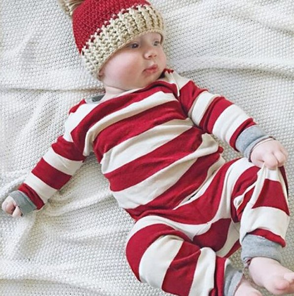 top popular Romper Matching family christmas pajamas striped nightwear baby kid adult clothes XMAS striped kids clothing romper one-piece outfit gift 2019