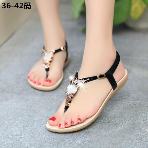 Zapatos planos de verano para mujer búho pinch zapatos de diseño de gran tamaño sandalias de gladiador bohemia para mujer 199