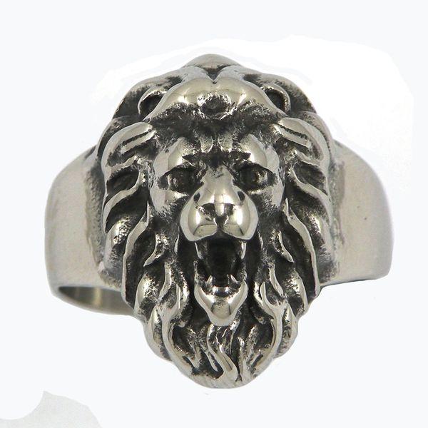 12W58 ACIER INOXYDABLE HOMMES JEWELRY PUNK RING ANNEAU KING LEO LION SIGNET ANIMAL BIKER RING CADEAU POUR FRÈRES
