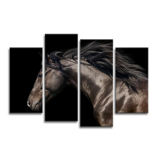 4 Pieces Black Horse Painting Photo Canvas Art Print Animal Canvas Printing for Home Wall Decor/SJMT1851
