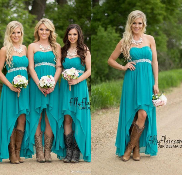 Modest Teal Turquoise Bridesmaid Dresses 2016 Cheap High Low Country Wedding Guest Gowns Under 100 Beaded Chiffon Junior Plus Size Maternity