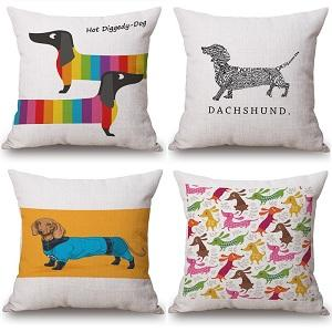 Wholesale Dachshund Cushion Covers Sausage Dog Christmas Festival Pillow Cases 45x45cm Thin Linen Cotton Bedroom Sofa Decoration Outdoor Cushions