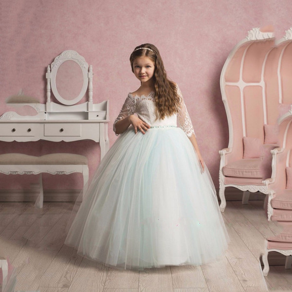 2020 Boat Neck Princess Beautiful Flower Girl Dresses Half Sleeve Lace Decoration Party Graduation Dress Vestido Daminha
