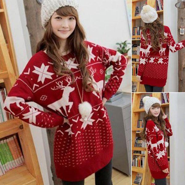 Noël printemps mode femmes pull haute élastique Noël Deer pull femmes slim sexy Bottowing Knitted Pullovers
