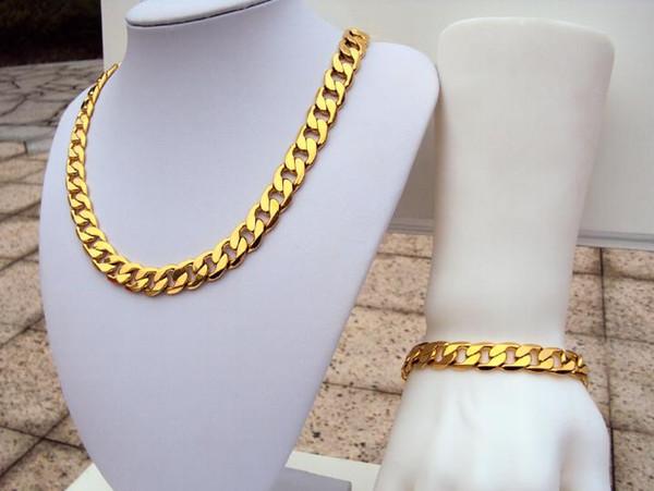 Schwerer Stempel 24k Gelb Real Solid Gold GF Herren Armband Halskette kubanischen Kette Set Geburtstag 12MM breiter Schmuck SETS FREE SHIPPING