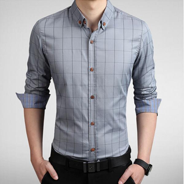 Wholesale- 2016 New brand mens dress shirts social long sleeve slim fit shirt mens plaid flannel shirts camisa masculina male clothes 5XL
