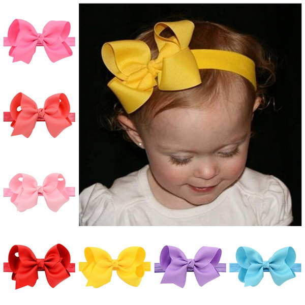 best selling Baby Infant Bow Headbands 4 Inch Grosgrain Ribbon Boutique Bows Headbands Girls Elastic Hairbands Hair Accessories Baby Bow Headwear