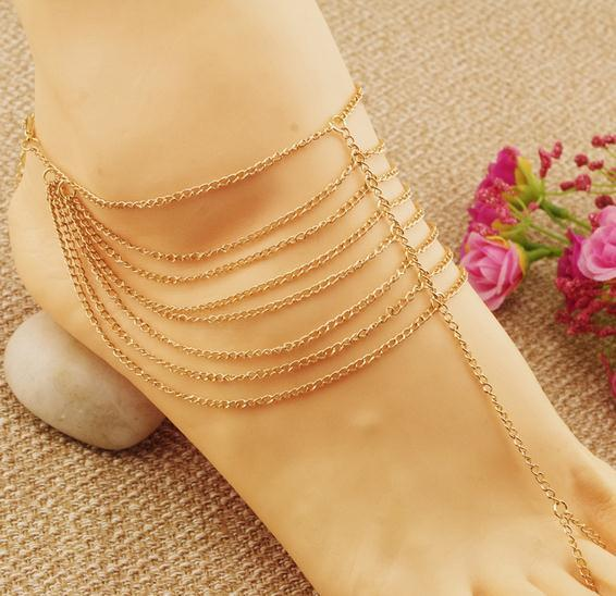 Europe And The United States Jewelry Multi-Layer Chain Connection Toes Anklets