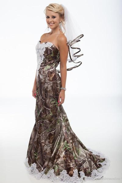 2017 Nueva Sexy Camo Sirena Vestidos de Noche Formal de Satén Apliques de Encaje de Camuflaje palabra de longitud Prom Party Celebrity Vestidos QC293