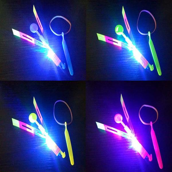 Beautiful Neon Led Light Amazing Elastic Powered LED Arrow Helicopter Shining Rocket Flash Copter Arrow Helicopter Free Shipping