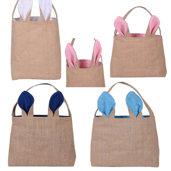 Easter Day Burlap Bags Rabbit Ears Single Shoulder Bag Easter Bunny Bags Kids Rabbit Ear Shape Bag Toy Gift Party Decoration LC448