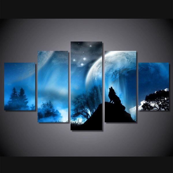 5 Pcs/Set Framed HD Printed Night Wolf Planet Picture Wall Art Canvas Print Room Decor Poster Canvas Pictures Painting