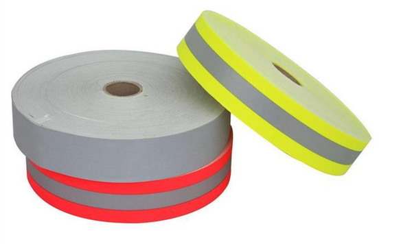 top popular 5cm Flame retardant Cotton Rescue and fire fighting road traffic warning fluorescent reflective ribbon reflective warning safety tape 2021