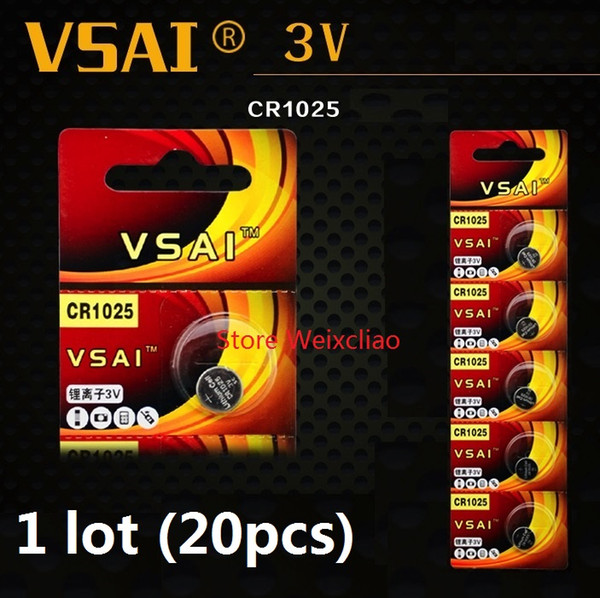 20pcs 1 lot CR1025 3V Lithium li ion button cell battery CR 1025 3 Volt li-ion coin batteries VSAI free shipping