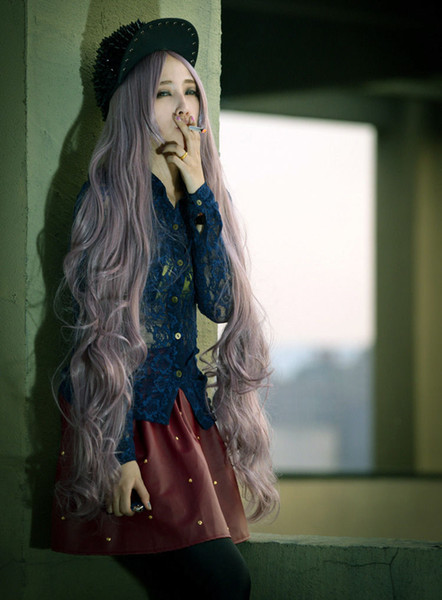 ePacket free shipping 100cm Long Women Curly Wavy Lolita Hair Cosplay Party Anime Wig Full Wigs+Cap