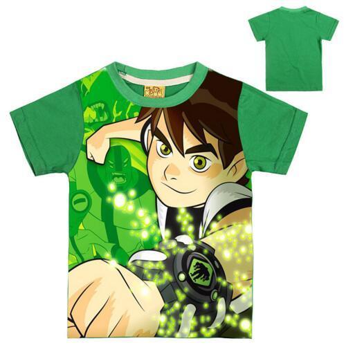 2017 Summer T-shirt Ben 10 Shirts For Boys Shirts T-shirt For Girl Children Boy Clothes Green Girls Tees Filles Ecolier Tops