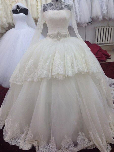 Hot Sale Long Sleeves Wedding Dresses 2015 High Neck Exquisite Lace Applique Empire Ball Gown Bridal Gowns Sash with Beads Wedding Dress HY