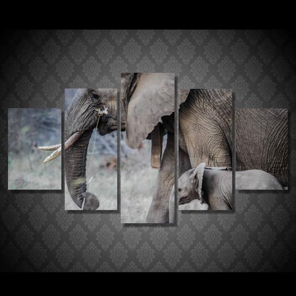 5 Pcs / Set Encadré HD Imprimé Afrique Éléphants Marche Paysage Image Mur Art Toile Impression Affiche Toile Peinture À L'huile Cuadros