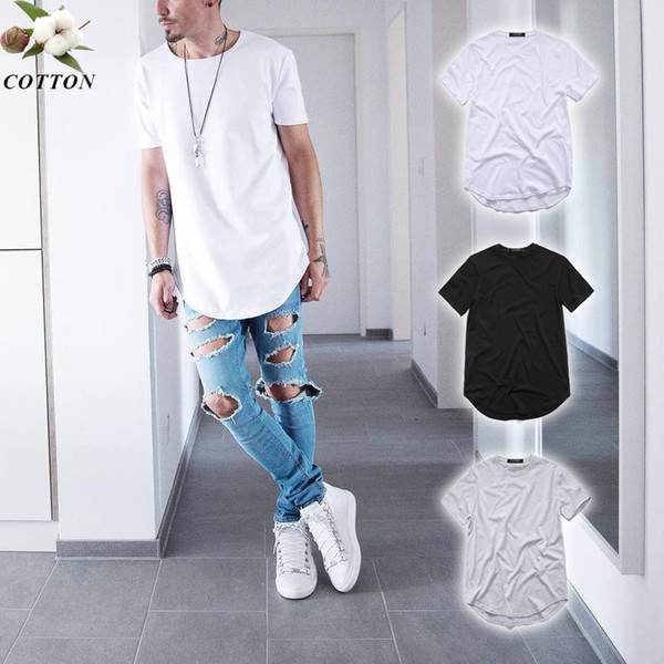 top popular Fashion men's extended Cotton t-shirt longline hip hop tee shirts justin bieber swag harajuku rock tshirt homme streetwear t shirt TX145 RF 2020