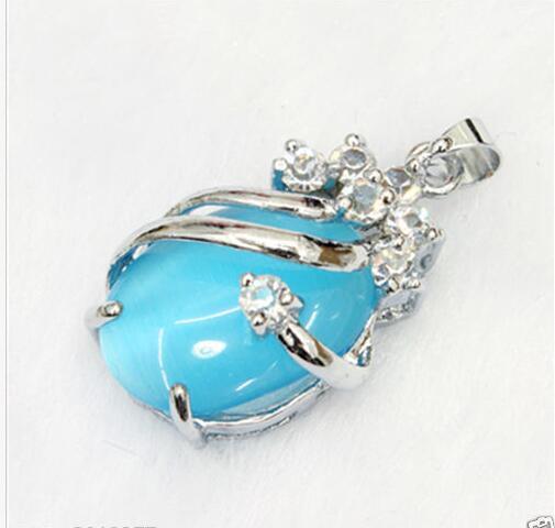 Pérolas e jade tibetana jóias de prata New opala azul de Cristal Banhado A Prata Pingente de Colar + Cadeia Livre
