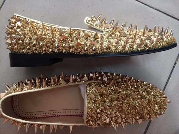 2017 Red Bottom Men Shinny Glitter zapatos planos NEGRO Astilla Gold spiked mens mocasines Holgazanes Remaches Hombres Zapatos Casuales Fotos Reales Tamaño 38-46