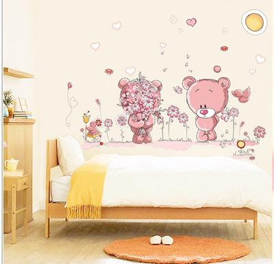 lovely cute bear wall stickers children room home decor baby shower adhesive for kids room ay7227 ay7194