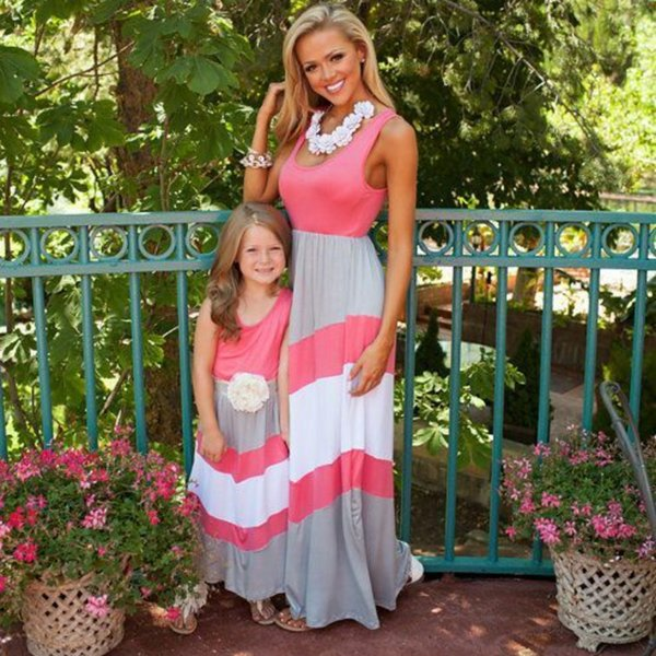 best selling 10 colors Mother Daughter Dress Striped Matching Mom Daughter Clothes Family Look Mom And Daughter Dress Bohemian Style Family Clothing