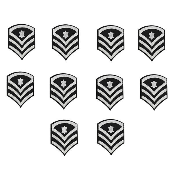 10PCS silver stars badge embroidery patches for clothing iron patch for clothes applique sewing accessories stickers on cloth iron on patch