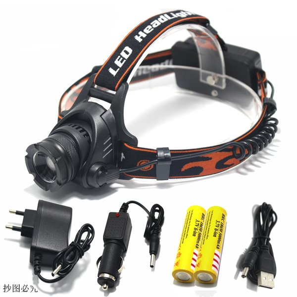 Wholesale- 3800Lm CREE L2 U2 LED Zoom Zoomable Waterproof Headlamp Headlight Head lamp Light+18650 battery+EU/US/AU/UK Plug Car usb Charger