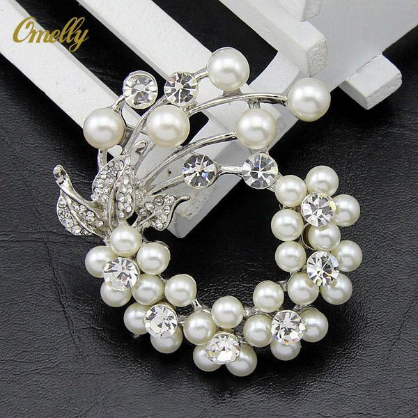 New Design Brand Silver Plated Clear Rhinestone Crystal Imitation Pearl Flower Brooches Pins Wedding Bouquet Jewelry Wholesale
