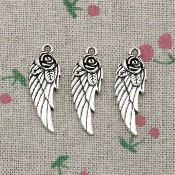 53pcs Charms angel wings flower 30*12mm Tibetan Silver Vintage Pemm Tibetan Silver Vintage Pendants For Jewelry Making DIY Bracelet Necklace