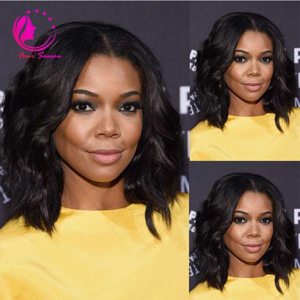 Glueless Virgin Brazilian Wavy Short Cut Human Hair Lace Front Wigs Full Lace Wigs For Black Women Bob Style wig Free shipping