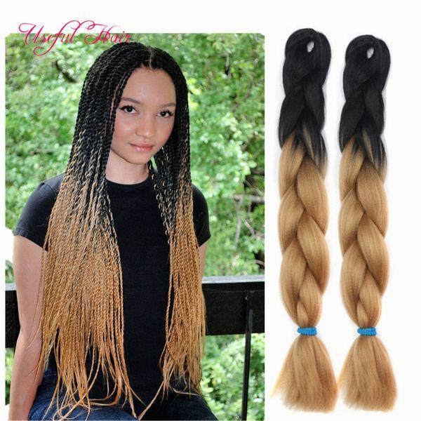 two tone black brown JUMBO BRAIDS tresse cheveux 24inch jumbo braiding ombre box braids hair curly kanekalon crochet synthetic hair