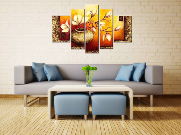 5 Panels Golden Bottle Elegant Flowers Modern 100% Hand Painted Gallery Wrapped Floral Oil Paintings on Canvas Wall Art