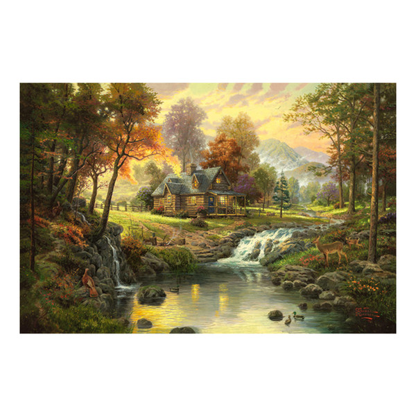 Thomas Kinkade Landscape Oil Painting Prints on Canvas Wall Art Picture for Living Room Home Decorations Unframed HD-12103