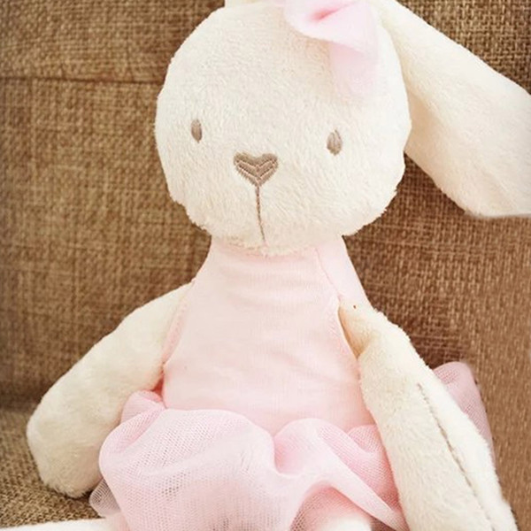Cute Stuffed Plush Rabbit Toy For Baby Girls Kids Soft Kawaii Toy Children Big Bedding Pillow Baby Girls Bow Dress Pets Toys