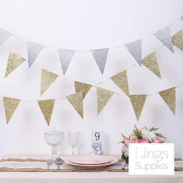 European Style gold and silver triangle flag pull flowers wedding triangle flag flag birthday party decorations 3m Wedding Suppliers Cheap
