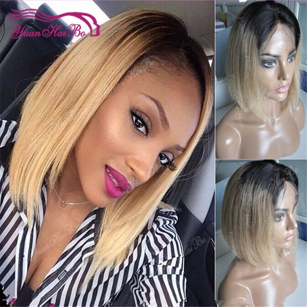 Hot selling 1bT27 layer cut short peruvian virgin hair ombre color bob full lace wig free shipping