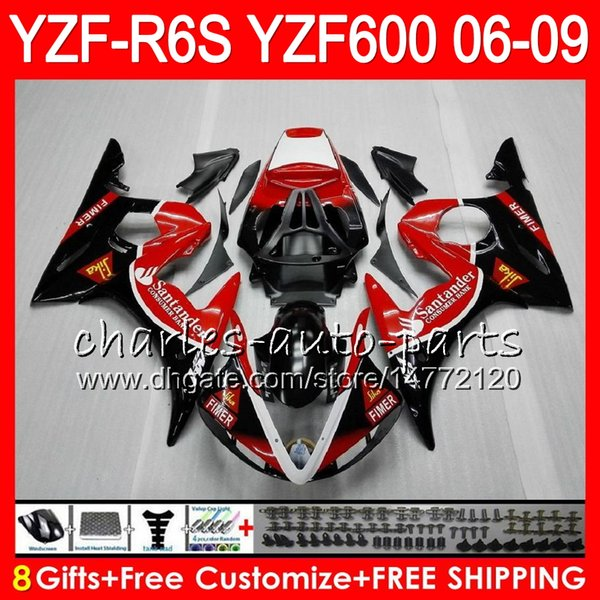 8Gifts 23Colors Body For YAMAHA YZF R6 S YZFR6S 06 07 08 09 57HM20 YZF600 Santander YZF R6S 06-09 YZF-R6S 2006 2007 2008 2009 Fairing kit