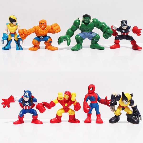 Q The Avengers Mini Iron Man Spider Man Captain America Hulk Action Figure Toys set of 8 Free Shipping