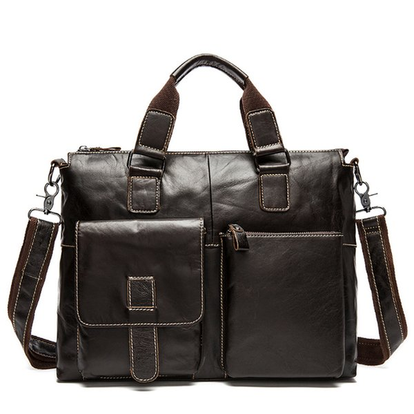Wholesale- Genuine Leather Men Bags Business Brief Case Leather Laptop Briefcase Men Travel Bag Crossbody Shoulder Bag Handbag cartable