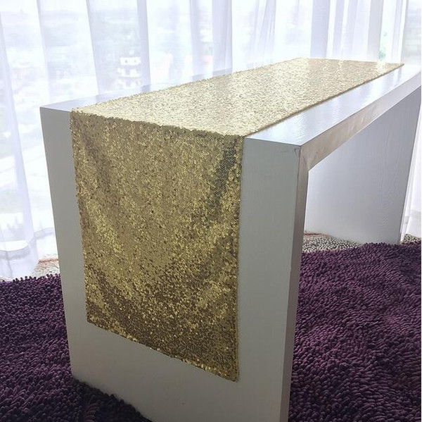 top popular 20pcs 30cm*275cm GOLD Banquet Sequin Table Runner Wedding Event Party Christmas Table Decoration 2019