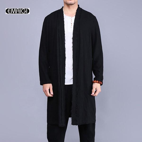 Atacado- 2017 novos homens trench coat china estilo de linho cardigan casaco de homens do vintage quebrado longo casaco jaqueta fashion blusão A321